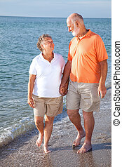 seniors, romanza, spiaggia, -