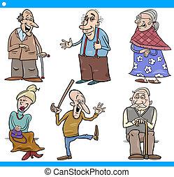 seniors, sätta, tecknad film, illustration, folk