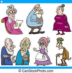 seniors, set, cartone animato, illustrazione, persone