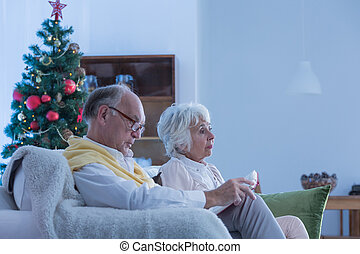 Seniors sitting on the couch during christmas