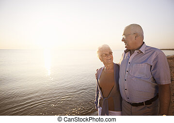 Seniors spending time by the sea