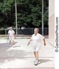seniors, su, racquetball, corte