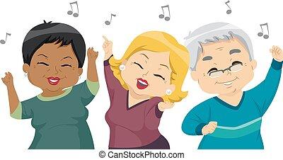 seniors, táncol, fél