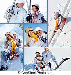 seniors, tél, boldog