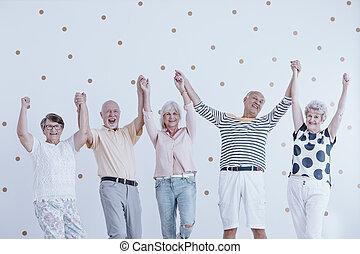 seniors, ugrás, boldog