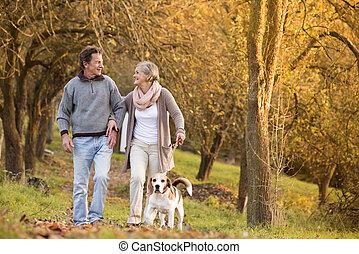 Seniors with dog