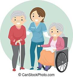 seniorzy, caregiver, stickman