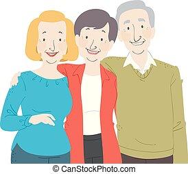 seniorzy, grupa, ilustracja, obywatel