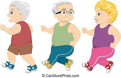 seniorzy, jogging, pieszy