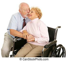 seniorzy, kochający, -, gest