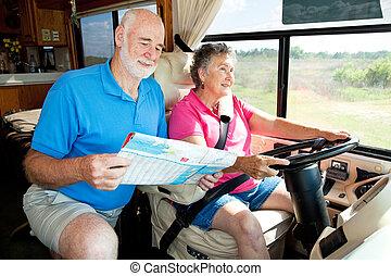 seniorzy, navigates, rv, -, mąż