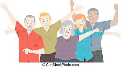 seniorzy, obywatel, ilustracja, szczęśliwy