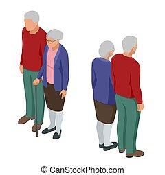 seniorzy, odizolowany, starszy, para., man., isometric, kobieta, ludzie., dziadkowie, senior, white., sędziwy