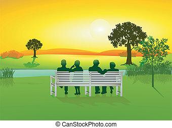 seniorzy, park ława