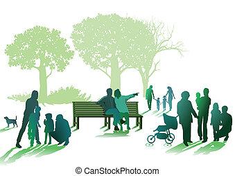 seniorzy, park, rodziny