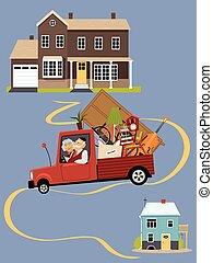 seniorzy, ruchomy, nowy dom