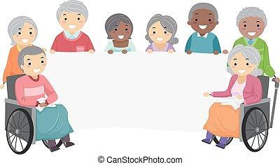 seniorzy, stickman, chorągiew