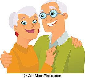 seniorzy, szczęśliwy