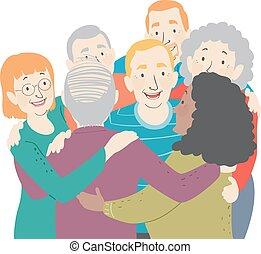 seniorzy, uścisk, grupa, ilustracja