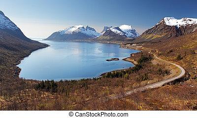 senja, montaña, fiordo, -, noruega