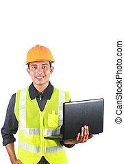 senkrecht, bild, von, mann, asiatisch, ingenieur, mit, laptop
