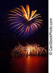 senkrecht, firework, textanzeige, aus, meer
