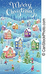 senkrecht, winter, karte, weihnachten