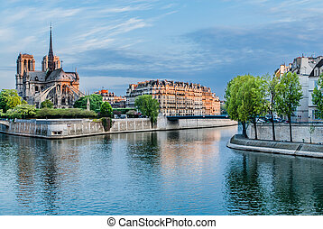 senna, parigi, notre, de, francia, fiume, dama