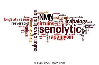 Senolytic word cloud. Typography.