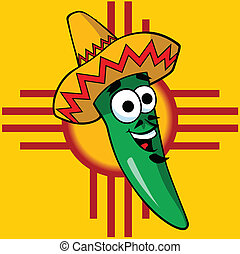 Vector illustration of a cartoon green chili pepper wearing a sombrero.