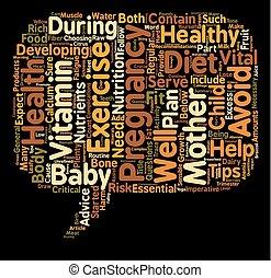 sensé, concept, mères, texte, conseil, régime, qui attend, wordcloud, fond, grossesse, pointes, exercice