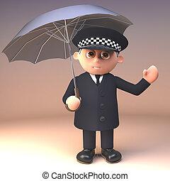sensato, policía, policía, lluvia, sherltering, ilustración...