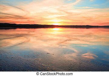 sensazionale, tramonto, a, lungo, molo, nsw, australia