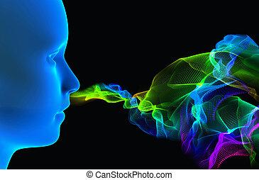 Sense of smell - 3d rendering illustration - smell concept