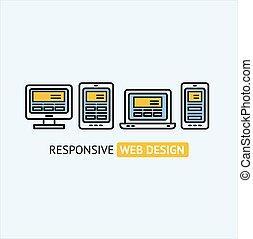 sensibile, web, concept., vettore, disegno