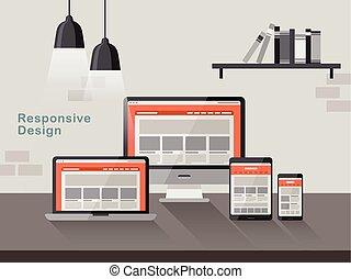 sensible, diseño, en, diferente, dispositivos, en, plano,...