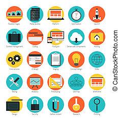 sensible, diseño telaraña, iconos, conjunto