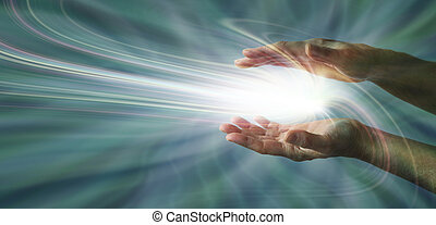 Sensing Supernatural Energy - Parallel female hands with a...