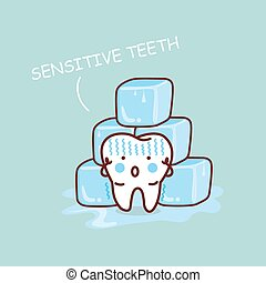 sensititive, caricatura, diente