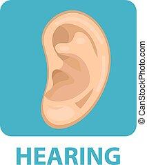 Sensitive hearing icon flat style. Ear. Isolated on white background. Vector illustration.