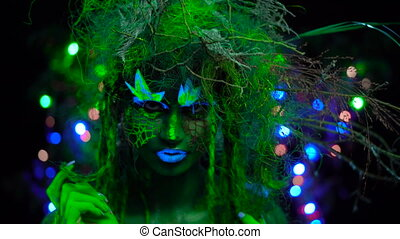 sensitive Mystic green dryad in UV fluor black light with...