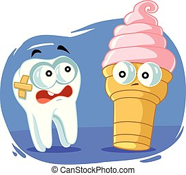 Sensitive Tooth Scared of Cold Ice Cream Vector Cartoon -...