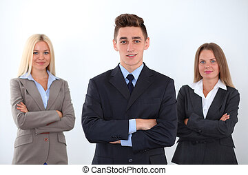 Sensitive young team leader
