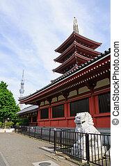 Senso-ji temple and Tokyo Sky Tree. Taken in spring 2011 in Asakusa, Tokyo.