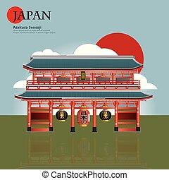 sensoji, atracciones, asakusa, ilustración, vector, señal,...