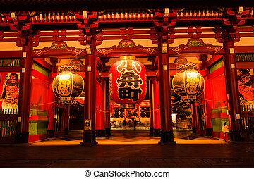 sensoji-ji, 赤, 日本語, 寺院, 中に, 浅草, 東京, 日本