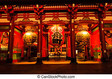 Sensoji-ji Red Japanese Temple in Asakusa, Tokyo, Japan -...