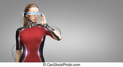 sensors, 女, 未来派, ガラス