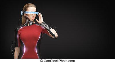 sensors, femme, futuriste, lunettes