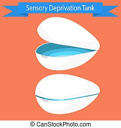Sensory deprivation Tank vector illustration. Floating spa...